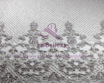 2018 new super heavy handmade beading lace fabric Gray/ivory crystl pearls wedding/evenign dress fabric by yard