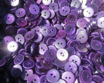 """5/8"""" Purple Buttons Pearl Plastic 2 Hole Bulk Lot 100 Buttons"""