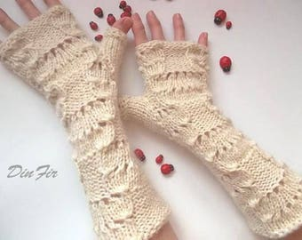 Women L Crocheted Mohair Gloves Ready To Ship Accessories Fingerless Mittens Bridal Warm Wrist Warmers Hand Knitted Wool Lace Ivory 1228
