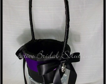 Gothic Black with Purple Skull Halloween Wedding Flower Girl Basket- The Romona, Goth Wedding