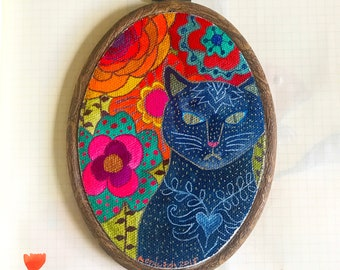The Cat In The Mirror - Original Watercolour & Ink Painting on Stretched Canvas Framed in Embroidery Hoop, ready to hang