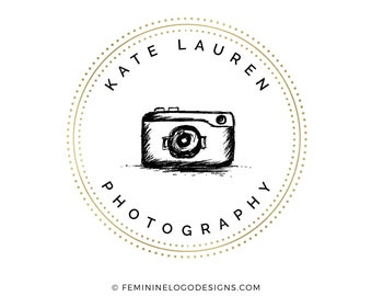 Camera logo, Photography logo, Gold logo, Feminine logo, Watermark logo, Black and gold logo, Circle logo design,  Photographer logo gold