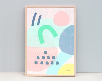 """Small Modern Art Print,  Modern Abstract Painting, 8x10"""" and A4 Art"""