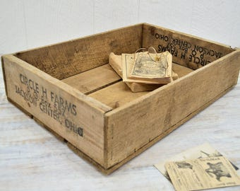 Wooden Farm Crate - rustic wood box - Circle H Farms, Ohio