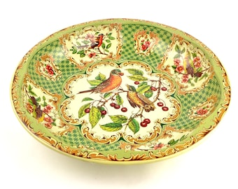 Vintage Daher Tin Tray Birds Robin Red Breast Berries Green 1971
