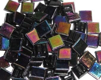 "100 MINI Black Rainbow Iridescent Vitreous Glass Tiles 3/8""//Mosaic//Mosaic Supplies//Crafts"