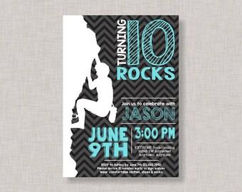 Rock Climbing Invitation, Rock Climbing Birthday Invitation, Rock Climbing Party