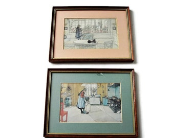Pair Framed VictorianNursery Prints / Vintage 1900s Children Art Prints/ Pair Professionally Matted and Framed