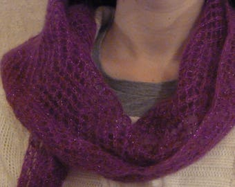 Purple scarf, Openwork, mohair and silk, chic