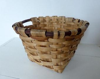 Vintage French Split Weave Gathering Basket Large