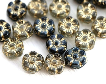 Flower beads mix, Grey Black, gold wash, daisy beads, czech pressed glass flowers - 7mm - 20pc - 2614
