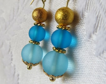 Gold Filled Teal & Gold Ball Drop Earrings, GE-182