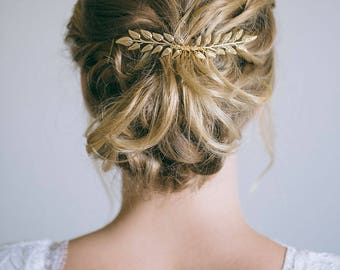Bridal Hair Comb, Gold Leaf Hair Comb, Gold Hair Comb, Gold Hair Vine, Bride Hair Accessories, Leaf hair vine
