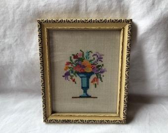 Vintage Framed Cross Stitch Floral Bouquet in Vase