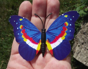 1 BUTTERFLY DECORATION, REFRIGERATOR DECOR.  MAGNETIC MULTICOLOR BLUE. 8.2 X 5.8 cm. NO. 5.