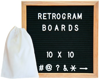 Black Felt - Oak Frame Retro Letter Board 10 x 10 inch with 300 White interchangeable letters and FREE letter bag