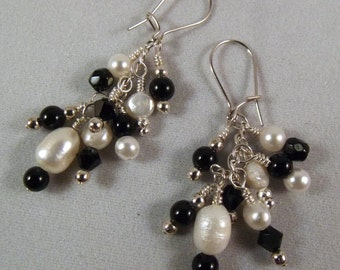 Classic black and white and silver all over dangle cluster earrings