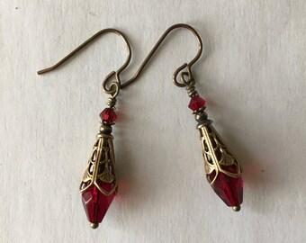 Filigree Cone Capped Siam Briolette Crystal Pierced Earrings