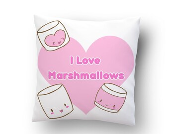 I love marshmallows cushion (16x16) - sweet candy faces kawaii fairy kei pillow