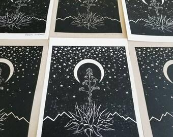 Midnight Magic Linoleum Print