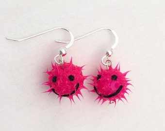 Bright pink smiley face earrings, spiky rubber earrings, spiky ball earrings, silicone ball earrings, sterling silver, fluorescent pink