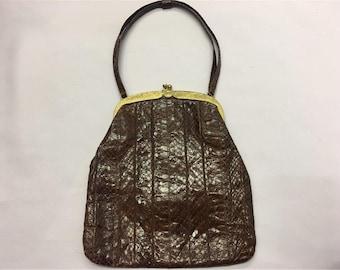 Vintage 1940s Brown Snake Skin Handbag Purse, Bag, Clutch - Lined - Genuine