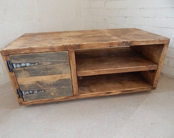 TV Media Unit-TV Stand-TV Unit, Industrial Rustic Urban Custom Handmade Various Sizes Reclaimed Wood