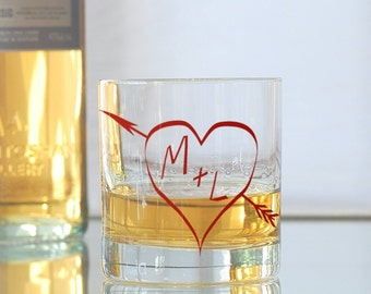 True love, custom screen printed glassware, old fashioned glasses