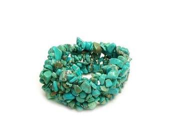 Stabilized Turquoise 6 Strands Gemstone Chip Bead Bracelet