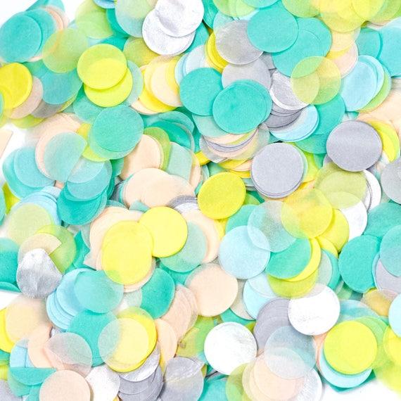 Sherbet Confetti, Light Blue Yellow Confetti, Shred, Table Decor, Confetti Balloon, First Birthday, Baby Shower, Wedding Summer Decor