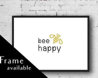 Bee Happy.Prints wall art.nursery wall art.a4 frame.framed prints.wall art.home Prints.home decor print.nursery prints.nursery art