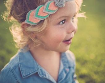 Felt Feather Headband - Layered Felt Flower - Felt Halo - Felt Crown - Felt Feather Halo - Felt Feather Crown - Mint Coral Grey Headband