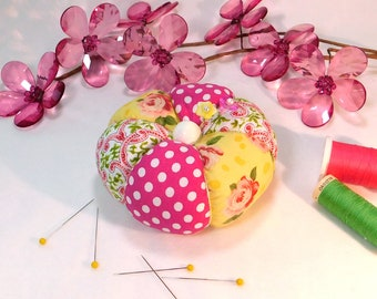 Pincushion, Bright Modern Rose Tomato Pincushion in Yellow, Pink, White and Green- Ready to Ship