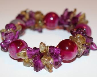 Bracelet extensible de royauté Bracelet violet et Vert Olive verre vert