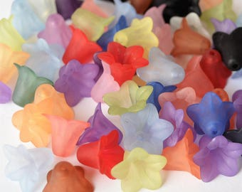 100 Pc 13mm Frosted Bell Flower Beads