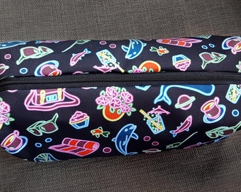 Hitchhiker's Guide to the Galaxy illustrated make-up bag/pencil case. Handmade and exclusive to ThatAgnes!