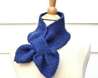 blue knit scarf, blue keyhole scarf, blue ascot scarf, knit keyhole scarf, knit ascot scarf, knit neckwarmer, unique scarf, royal blue scarf