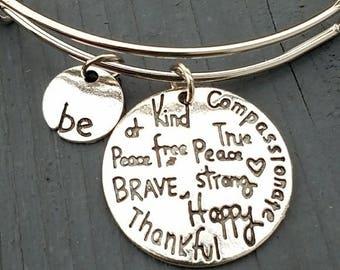 Be thankful, be kind charm bracelet, be brave bracelet, be strong bracelet, inspirational jewelry, inspirational bracelet, be happy bracelet
