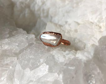 Pearl Electroformed Ring- Size 6.25