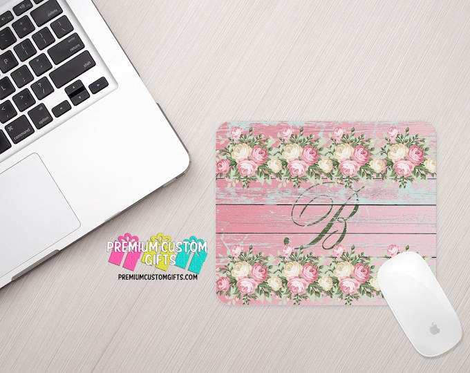 Monogrammed Mouse Pad - Floral Mouse Pad - Personalized Mouse Pad - Custom Mouse Pad - Office Gift - Computer Desk - Personalized Gift