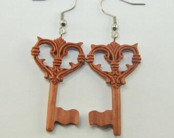 Key to my Heart Earrings Hooks, Dangling