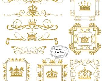 Gold Glitter Clipart, Gold glitter frame, Glitter crown, Glitter frame, Glitter gold digital clipart, Gold frame, borders glitter gold 1033