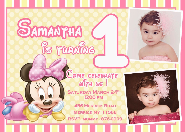 CUSTOM PHOTO Invitations Baby Minnie Mouse Birthday Invitation