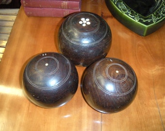 Antique Professional Wooden Lawn Bowling Balls(for the three of them)