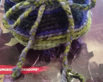 Crochet dice bag - purple green and black