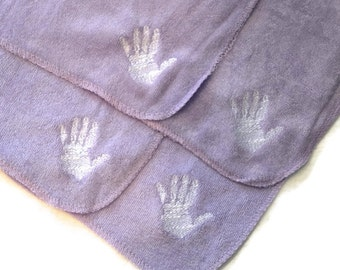 Embroidered 4 Baby Washcloths Set of 4 Purple Cloths with White Handprint - Ready to Ship