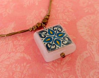 Teal & Blue Catalina Tile on a Gold-Plated Brass Beads, Spanish, Mexican, Catalina Island Tile, Inspired, Aqua Blue Necklace Wanderluster