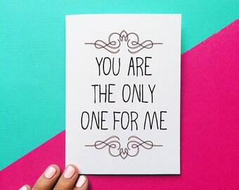 carte de la Saint-Valentin romantique vous êtes le seul pour moi anniversaire carte citation mariage jour cadeau mariage carte pour sa carte romantique pour lui