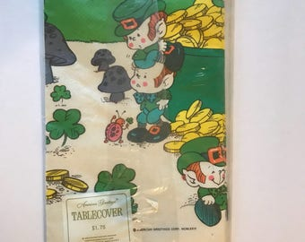 Vintage Paper Tablecloth St. Patrick's Day Leprechaun Irish American Greetings NOS