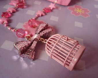 Baby Pink Bird Cage Kawaii Beaded Chain Bow Necklace